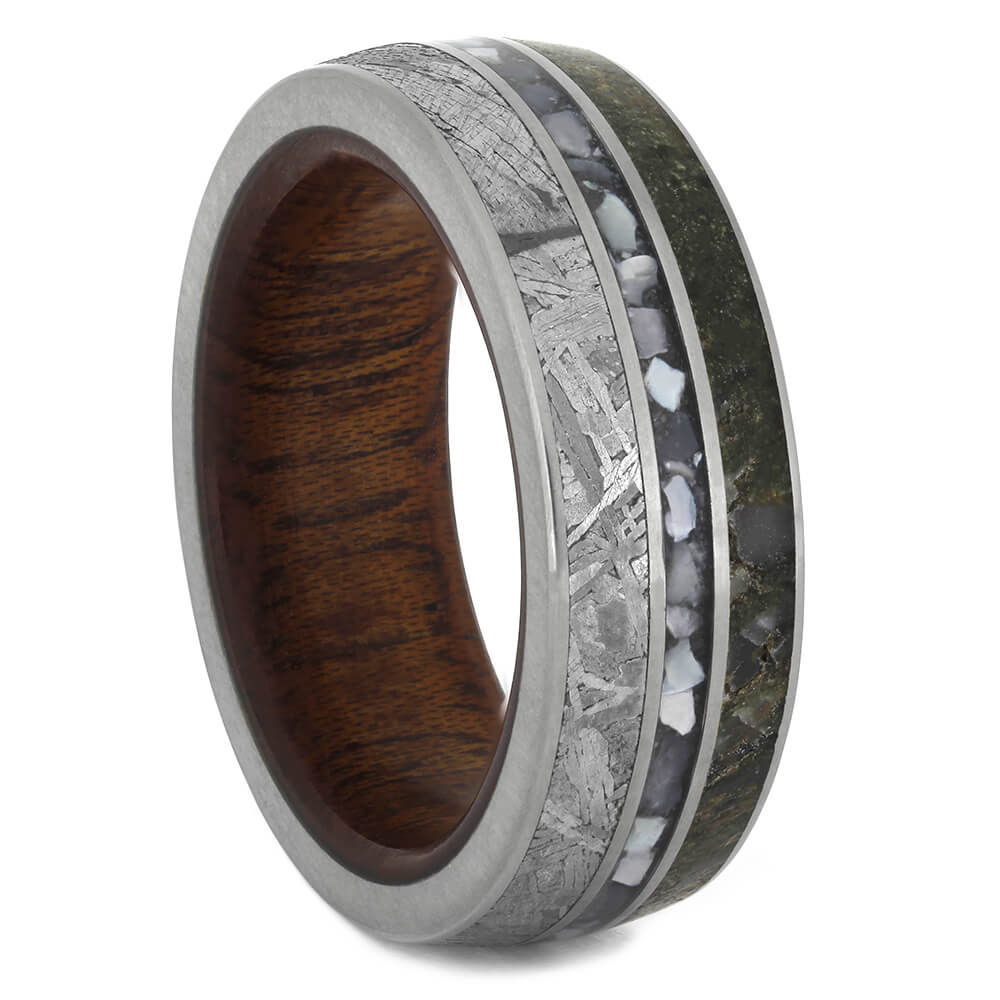 Unique Men's Wedding Band Loaded with Natural Materials