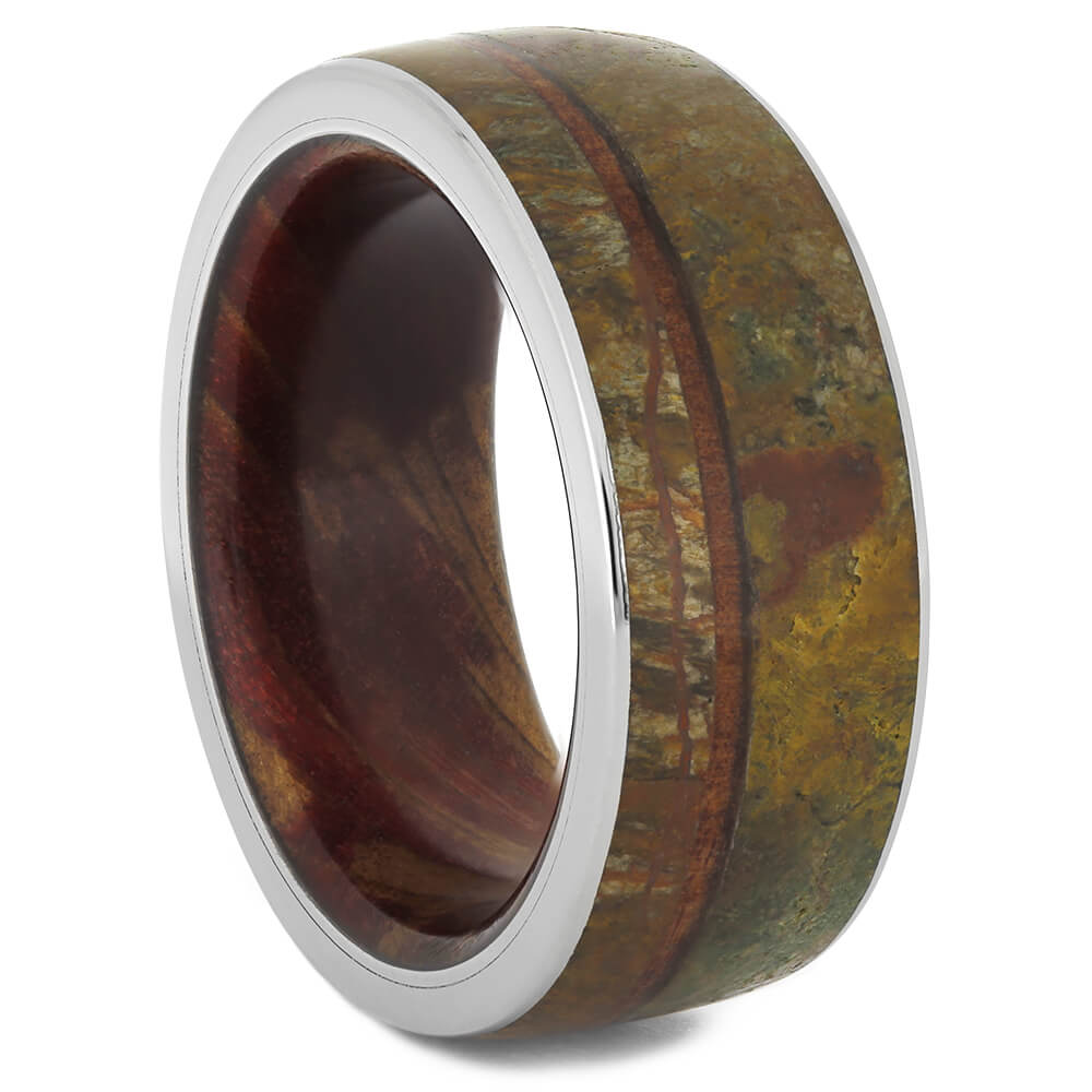 Redwood Wedding Band with Dinosaur Bone Inlay, Size 8.75-RS11165 - Jewelry by Johan