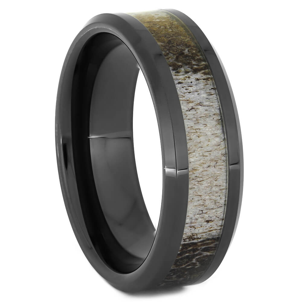 Naturally Shed Deer Antler Ring in Black Ceramic