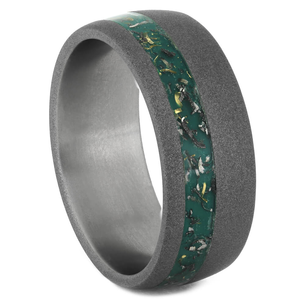 Green Stardust™ Wedding Band In Sandblasted Titanium, Size 11.5-RS11168 - Jewelry by Johan