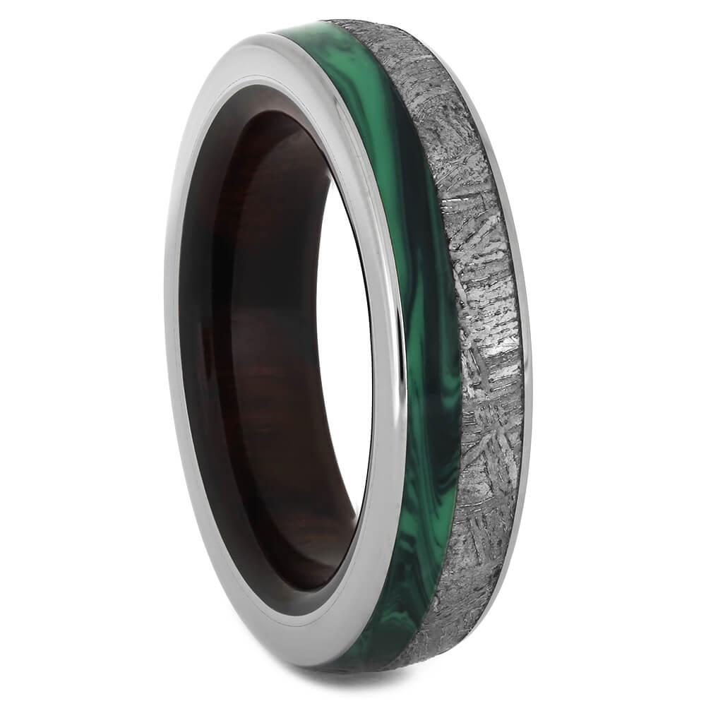 Malachite Ring with Ironwood and Meteorite, Size 6-RS11171 - Jewelry by Johan