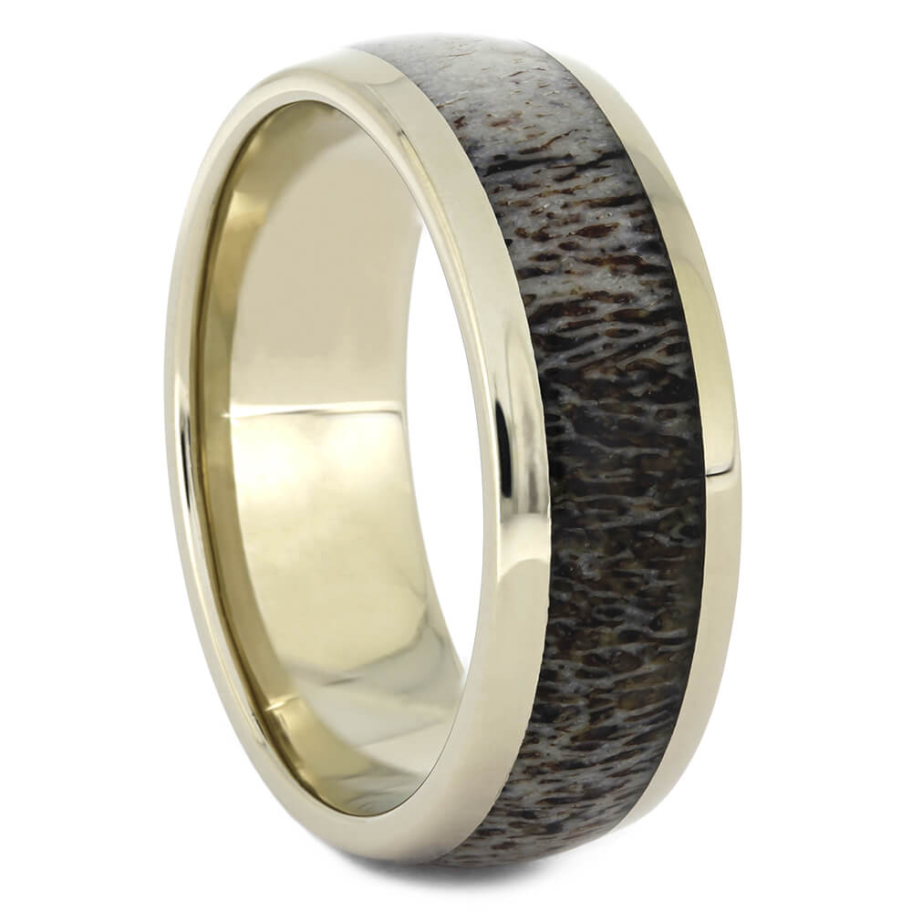 White Gold Wedding Band with Naturally Shed Deer Antler