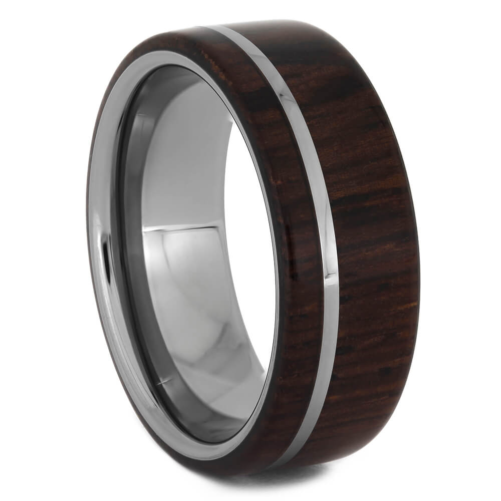 Tungsten Ring with Exotic Honduran Rosewood, Size 8.5-RS11174 - Jewelry by Johan