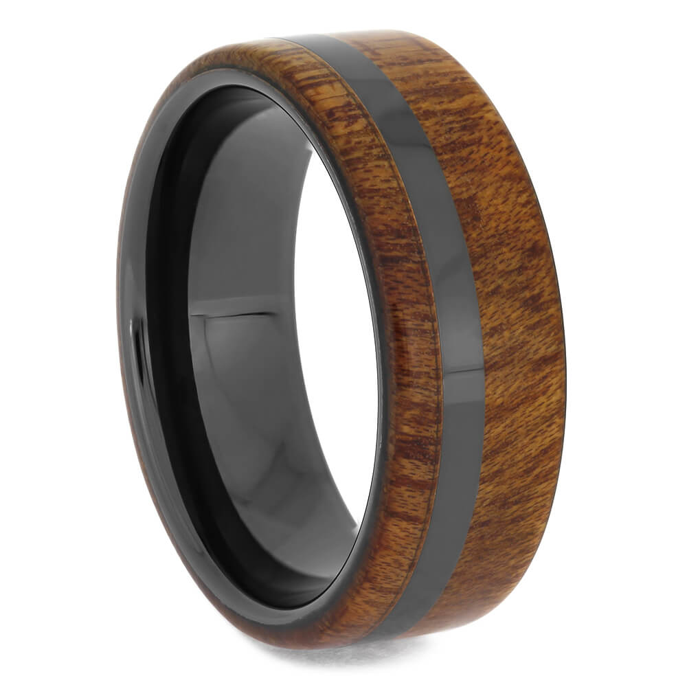 Black Ceramic Wedding Band with Bloodwood Edges