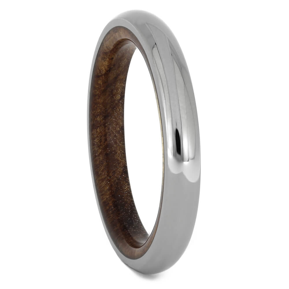 Narrow Titanium Ring with Redwood Sleeve, Size 5.5-RS11178 - Jewelry by Johan