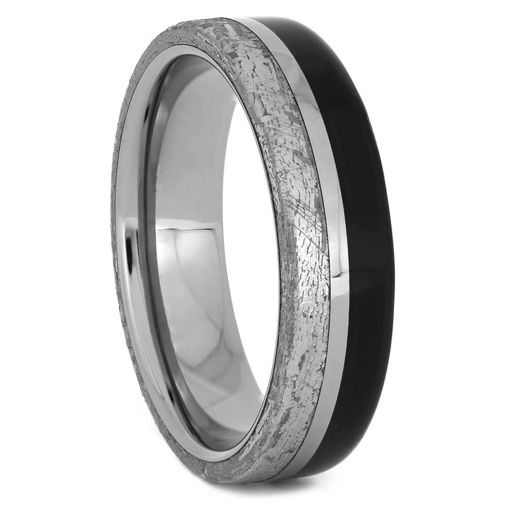 Authentic Meteorite and Ebony Wood Wedding Band, Size 8-RS11182 - Jewelry by Johan