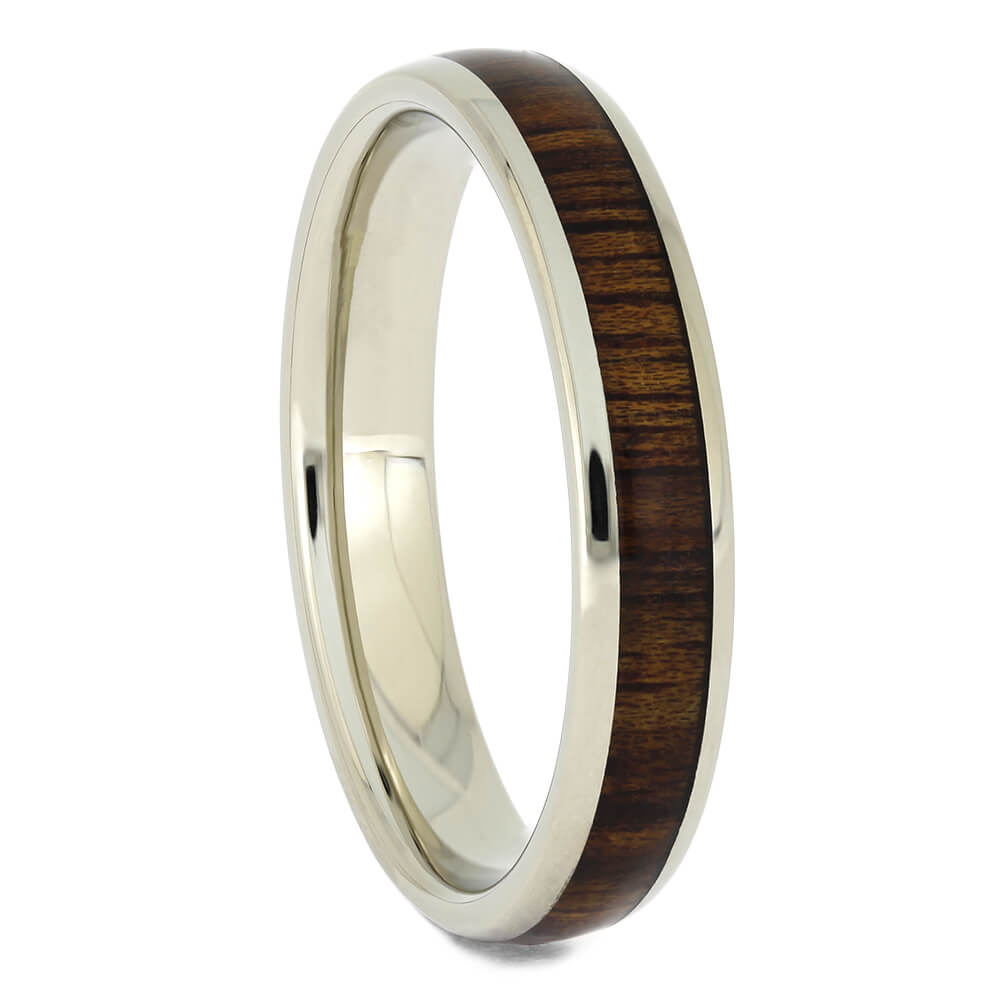 White Gold and Koa Wood Thin Women's Wedding Band