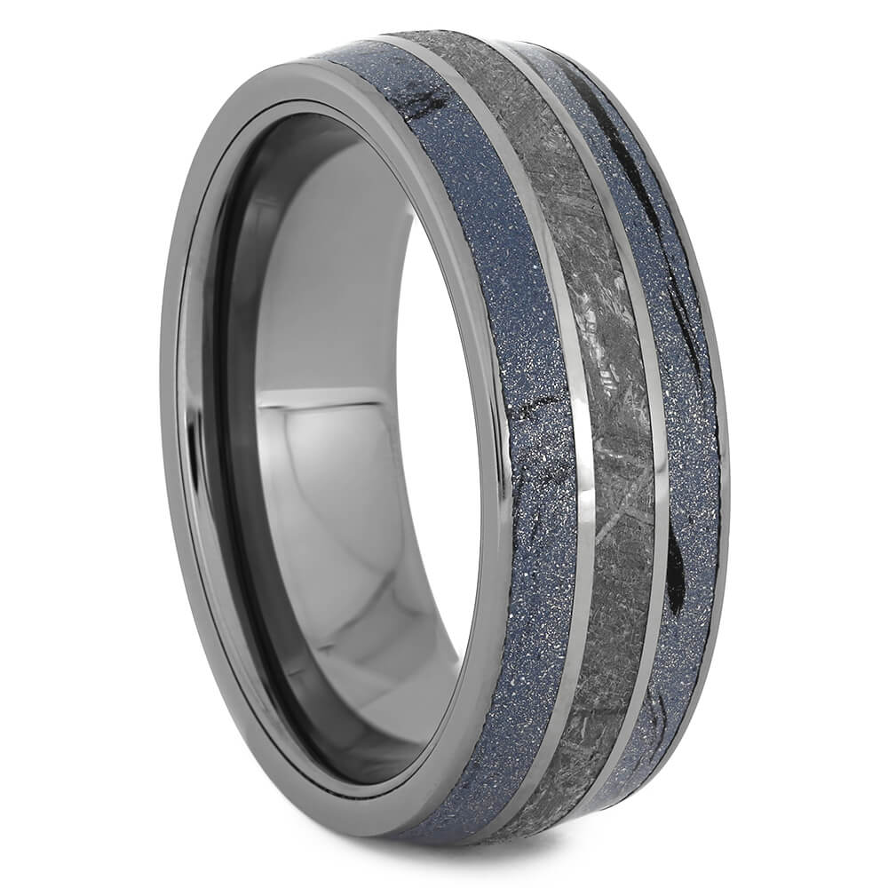 Cobaltium Mokume Wedding Band with Authentic Meteorite, Size 10-RS11186 - Jewelry by Johan