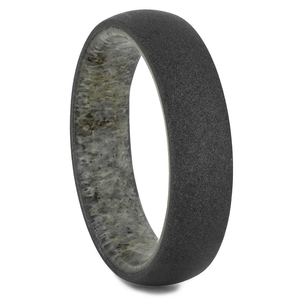 Sandblasted Wedding Band with Deer Antler Sleeve, Size 10.5-RS11189 - Jewelry by Johan