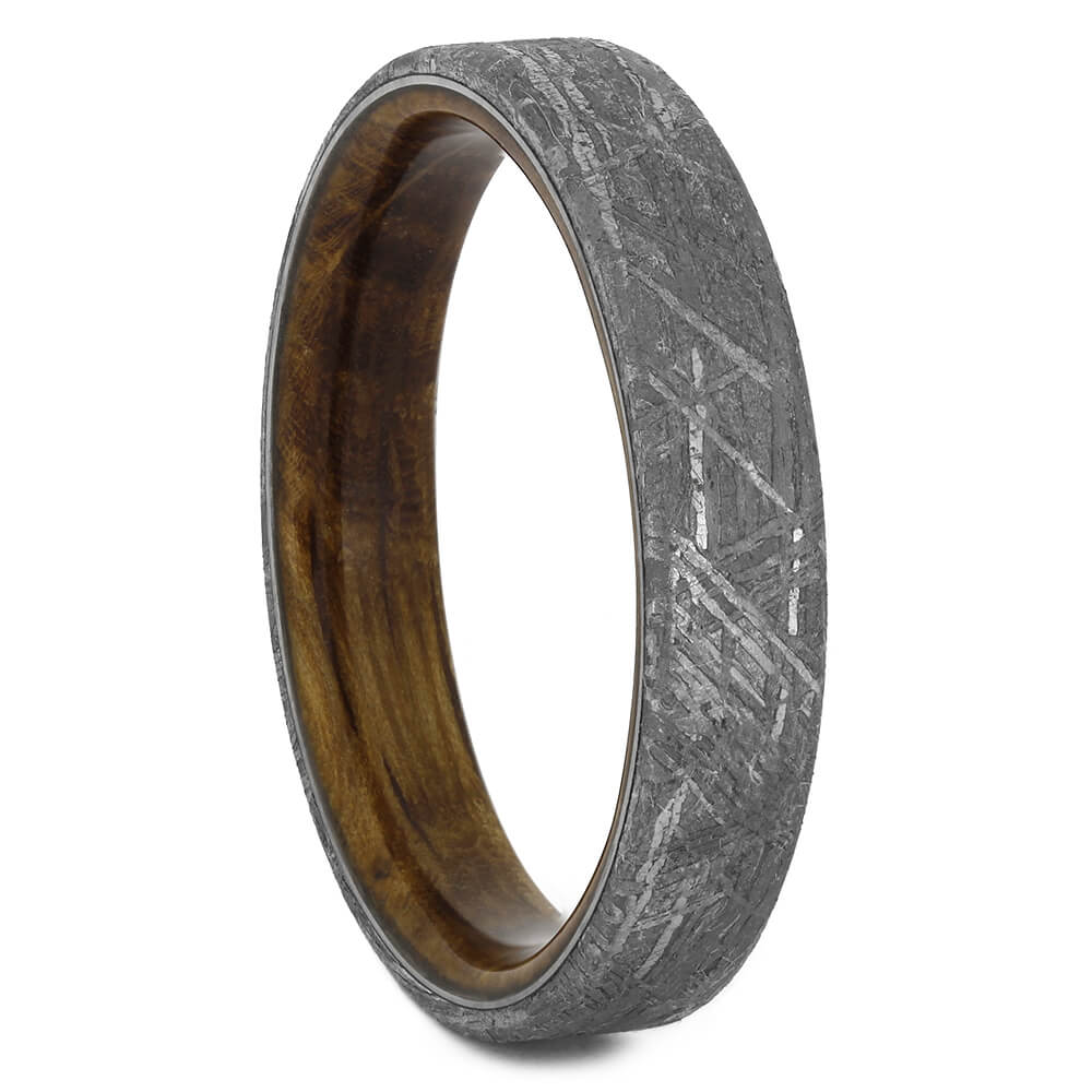 Authentic Meteorite Wedding Band with Whiskey Barrel Wood Sleeve