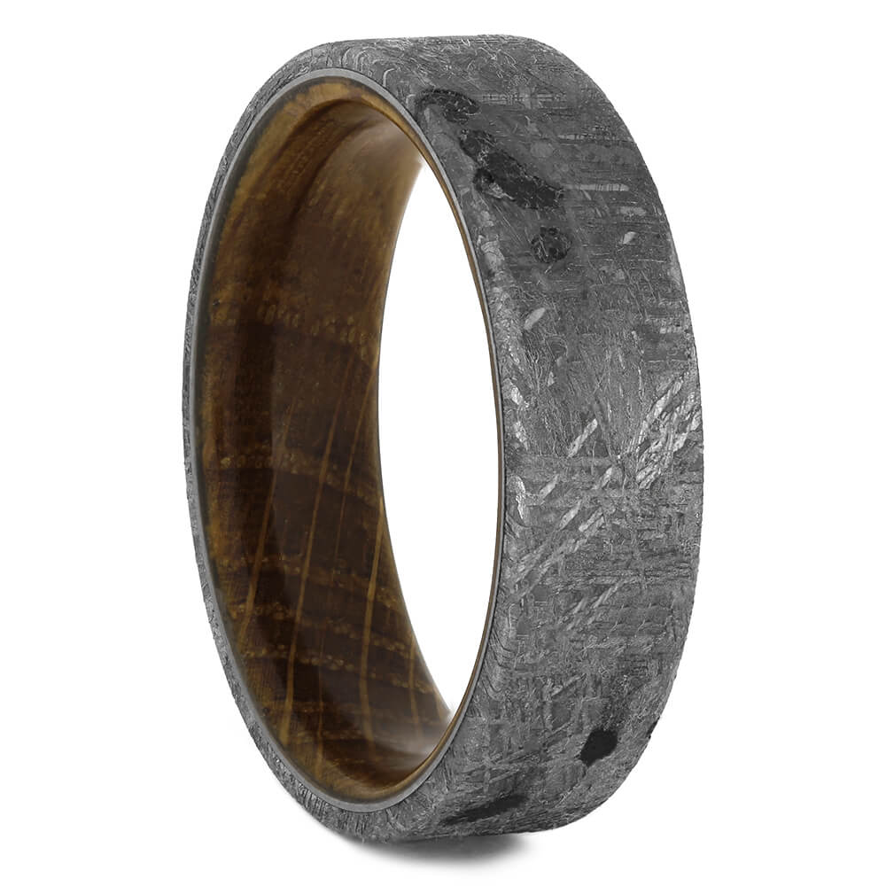 Authentic Meteorite Overlay Ring with Whiskey Barrel Wood Sleeve