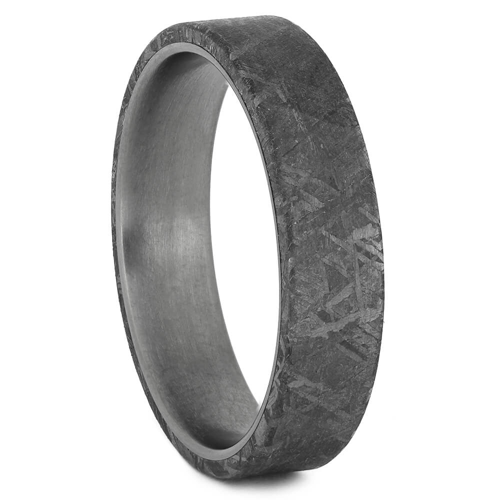 Authentic Meteorite Overlay Ring with Titanium Sleeve