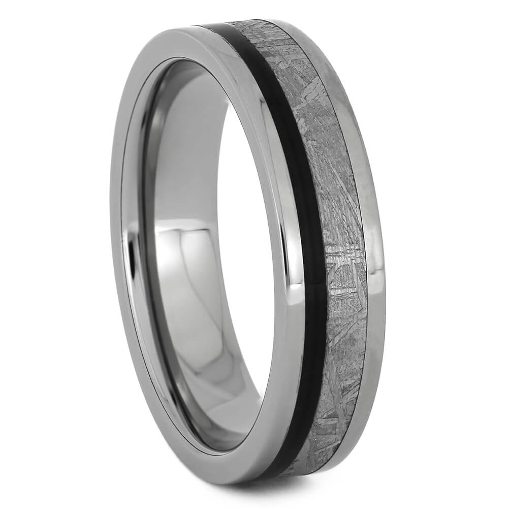 Titanium Ring for Women with Meteorite and Blackwood, Size 7.25-RS11202 - Jewelry by Johan