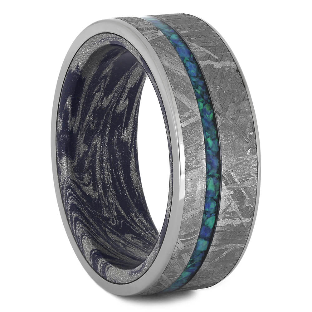 Opal and Meteorite Wedding Band with Mokume Sleeve, Size 9.25-RS11207 - Jewelry by Johan