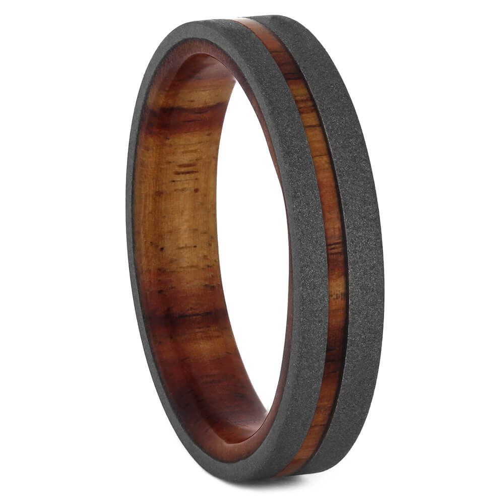 Wood Wedding Band with Sandblasted Finish and Tulipwood, Size 9.5-RS11208 - Jewelry by Johan