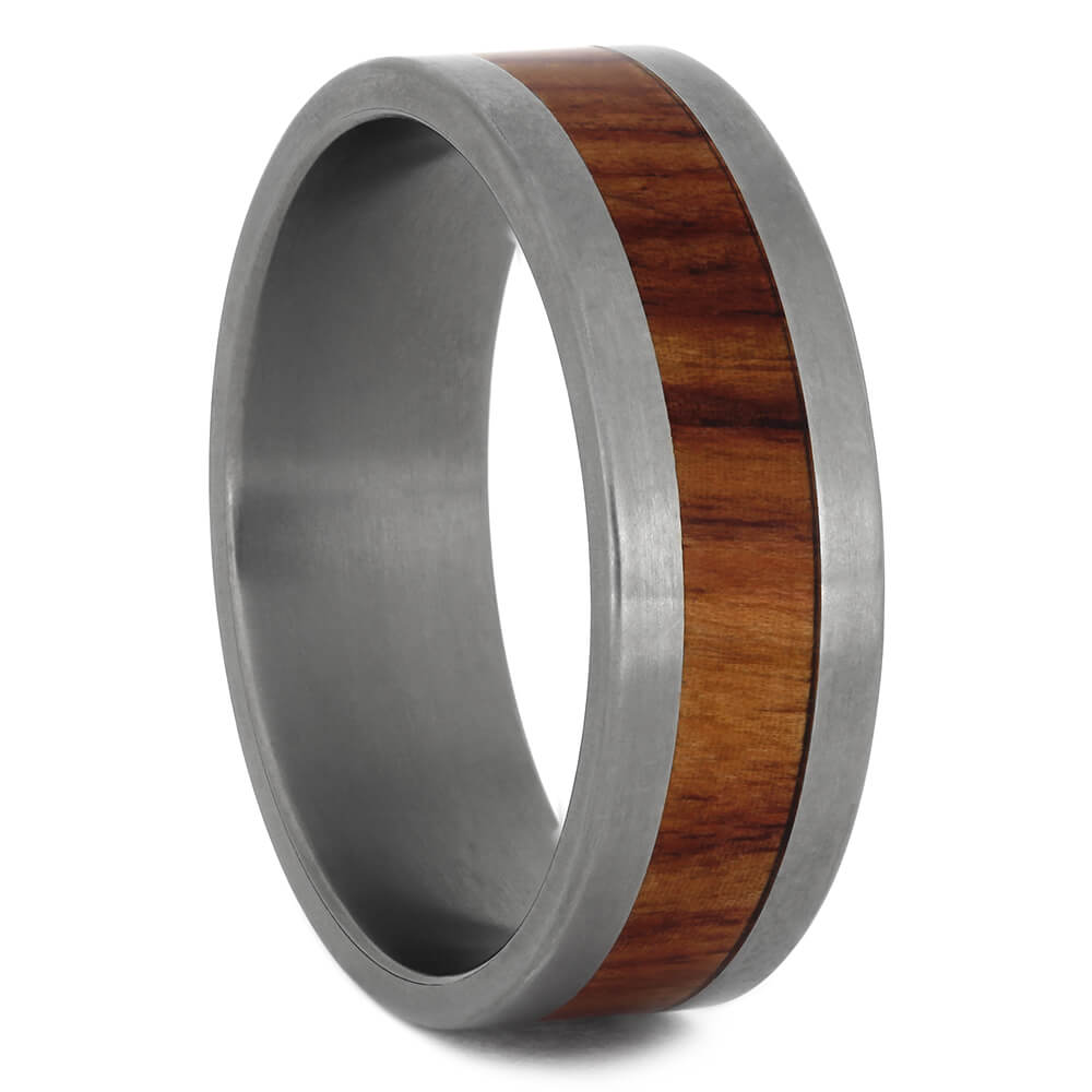 Exotic Tulipwood Ring with Matte Titanium, Size 12.5-RS11212 - Jewelry by Johan