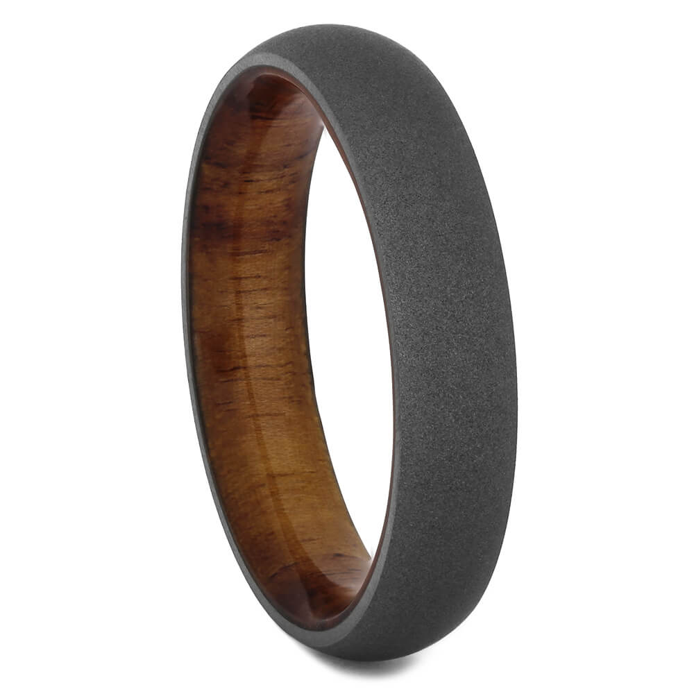 Sandblasted Wedding Band for Men with Wood Sleeve, Size 9.5-RS11215 - Jewelry by Johan