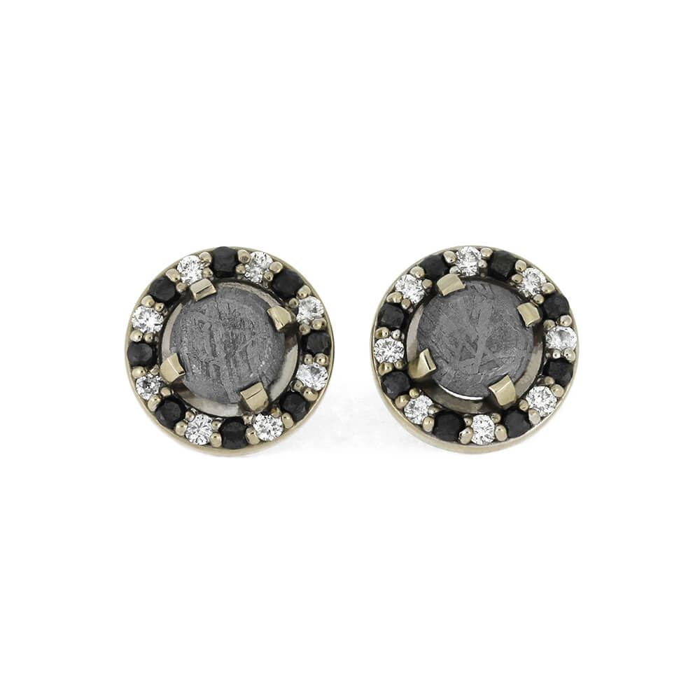Meteorite Earrings With Black And White Diamonds, In Stock-RS11219 - Jewelry by Johan