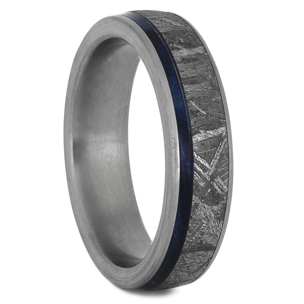 Blue Wood and Meteorite Wedding Band, Size 6.25-RS11221 - Jewelry by Johan