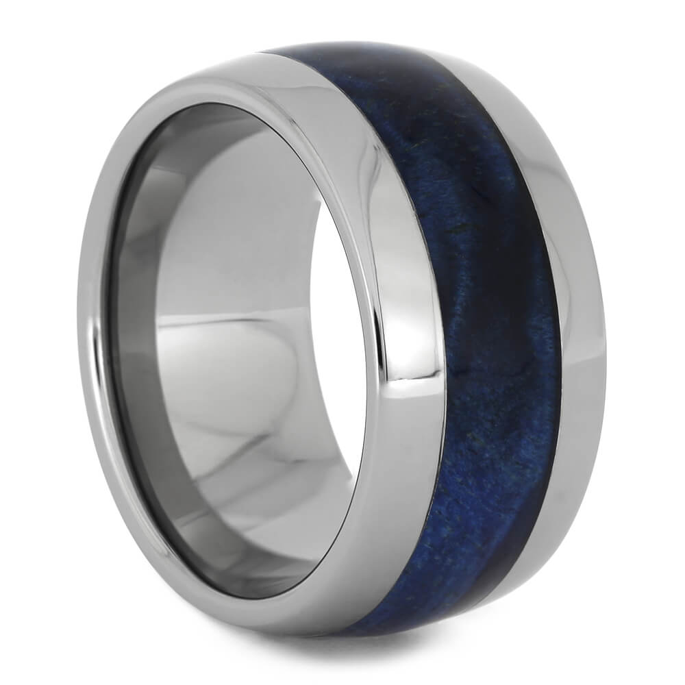 Blue Box Elder Wedding Ring with Titanium Edges, Size 6.5-RS11222 - Jewelry by Johan