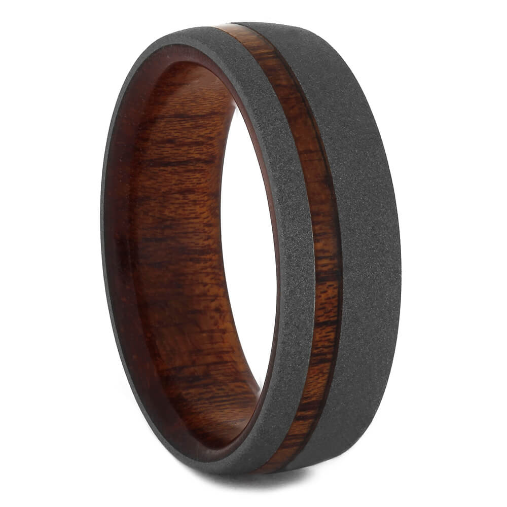Bloodwood Wedding Band with Sandblasted Titanium, Size 8-RS11225 - Jewelry by Johan
