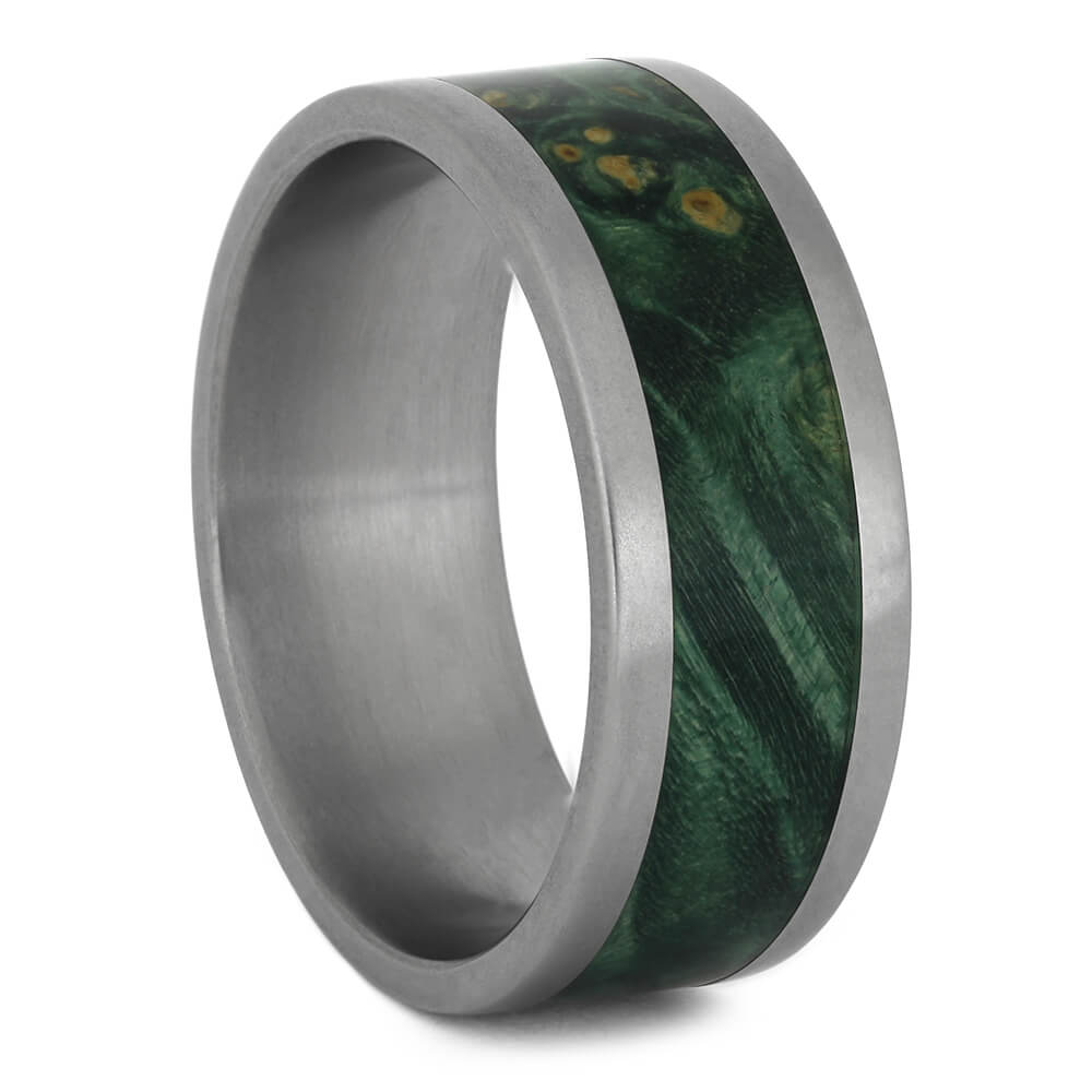 Green Box Elder Wedding Band In Matte Titanium, Size 8.5-RS11227 - Jewelry by Johan