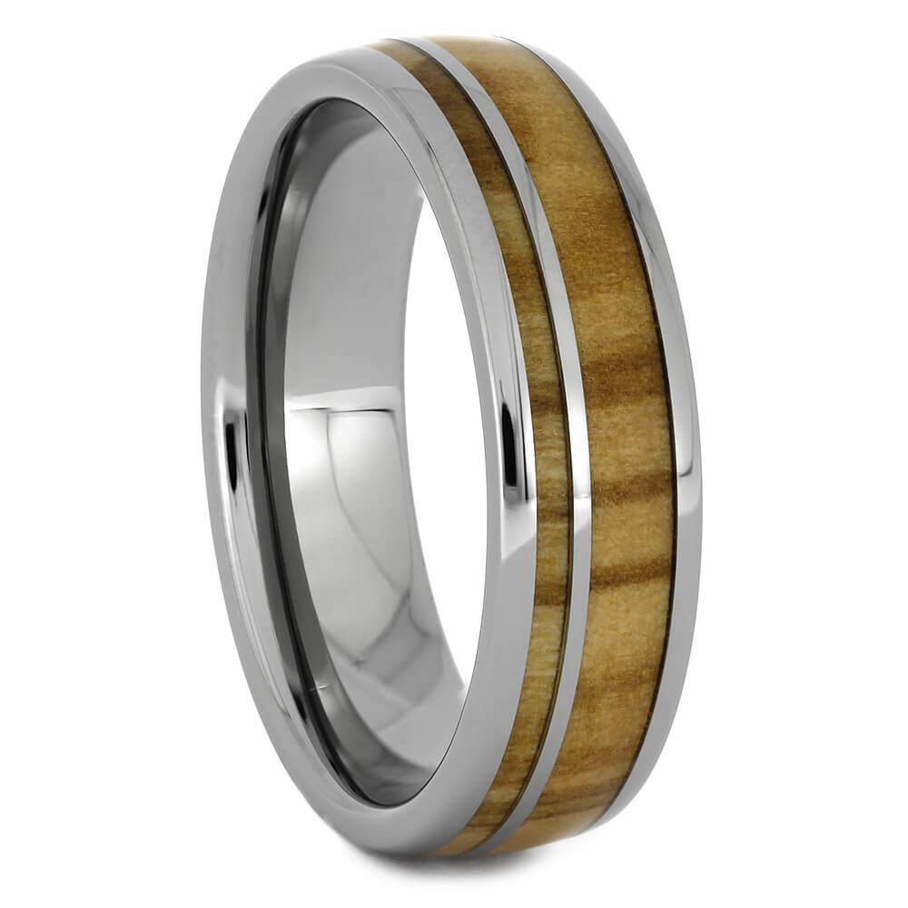 Olive Wood Wedding Band in Titanium, Size 8.5-RS11228 - Jewelry by Johan