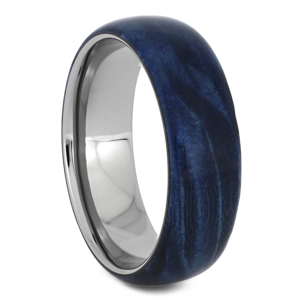 Blue Box Elder Wood Wedding Band, Size 9.5-RS11230 - Jewelry by Johan