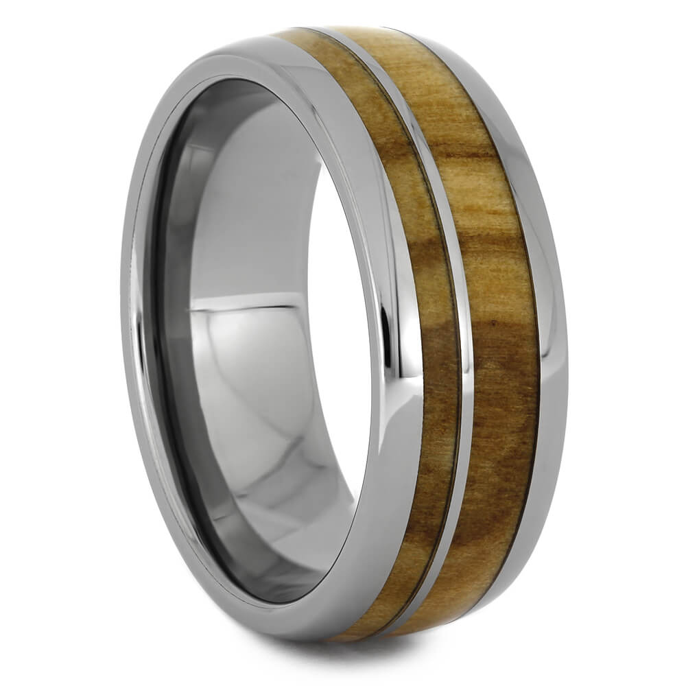 Olive Wood Ring in Polished Titanium, Size 9.5-RS11232 - Jewelry by Johan