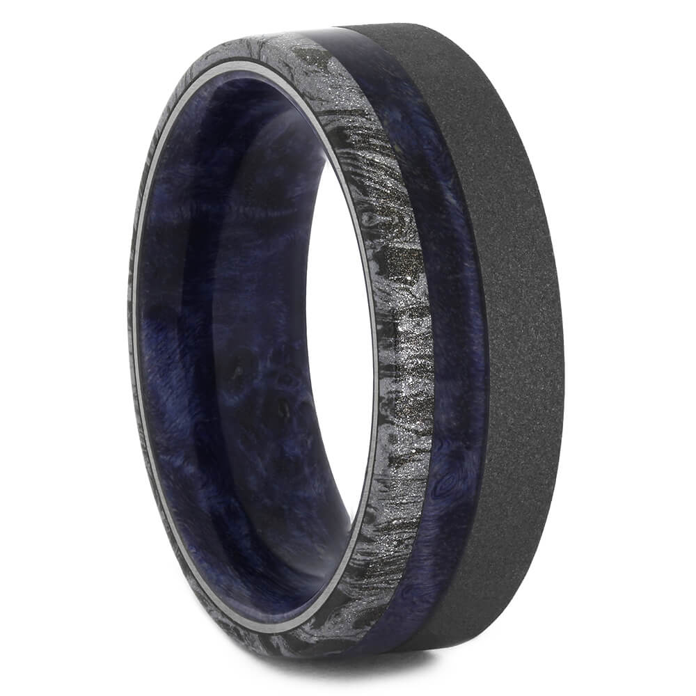 Mokume and Blue Box Elder Ring for Men, Size 10.5-RS11236 - Jewelry by Johan