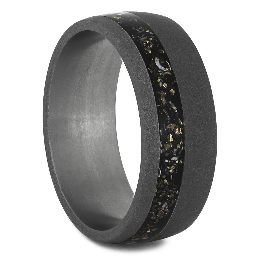 Black Meteorite Wedding Band with Sandblasted Finish, Size 12-RS11237 - Jewelry by Johan