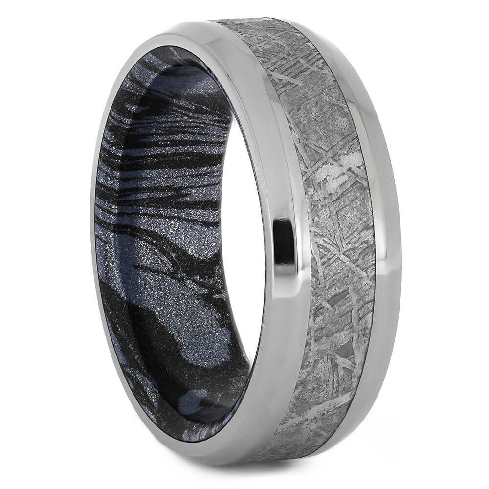 Authentic Gibeon Meteorite Wedding Band with Polished Titanium Edges