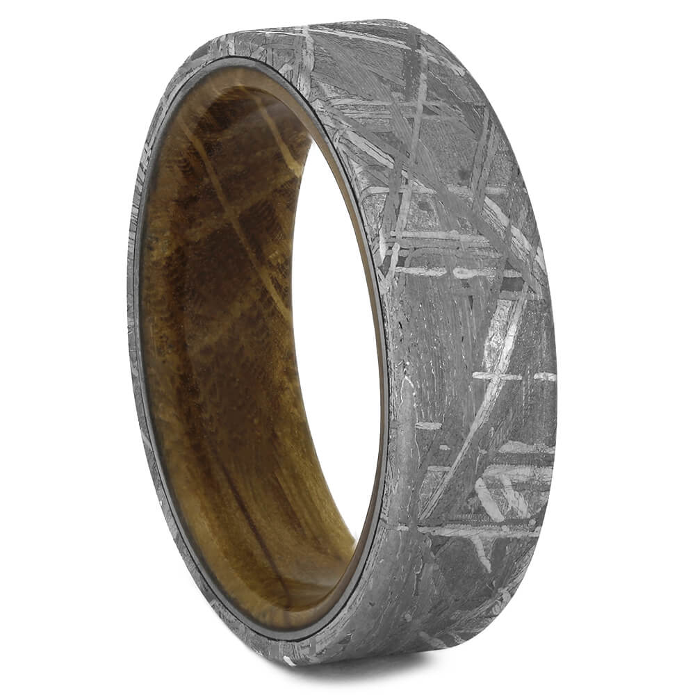 Men's Meteorite Ring with Whiskey Wood Sleeve, Size 10.5-RS11241 - Jewelry by Johan