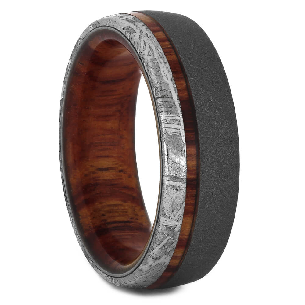 Tulipwood Ring with Meteorite and Sandblasted Finish, Size 8-RS11243 - Jewelry by Johan
