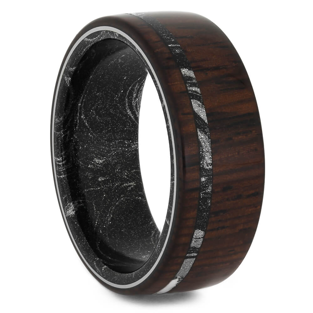 Honduran Rosewood Ring for Men with Mokume Sleeve, Size 8.5-RS11244 - Jewelry by Johan
