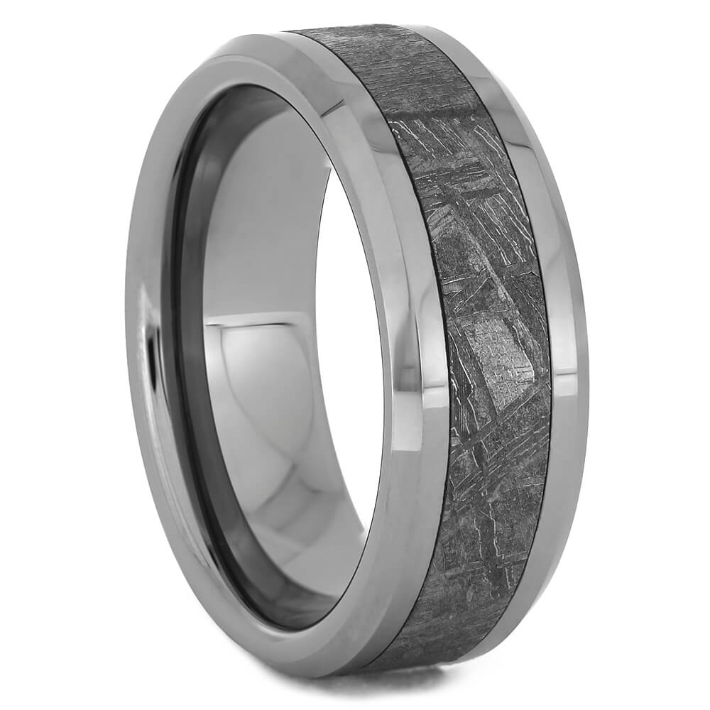 Beveled Tungsten Wedding Band with Authentic Meteorite, Size 9.5-RS11245 - Jewelry by Johan