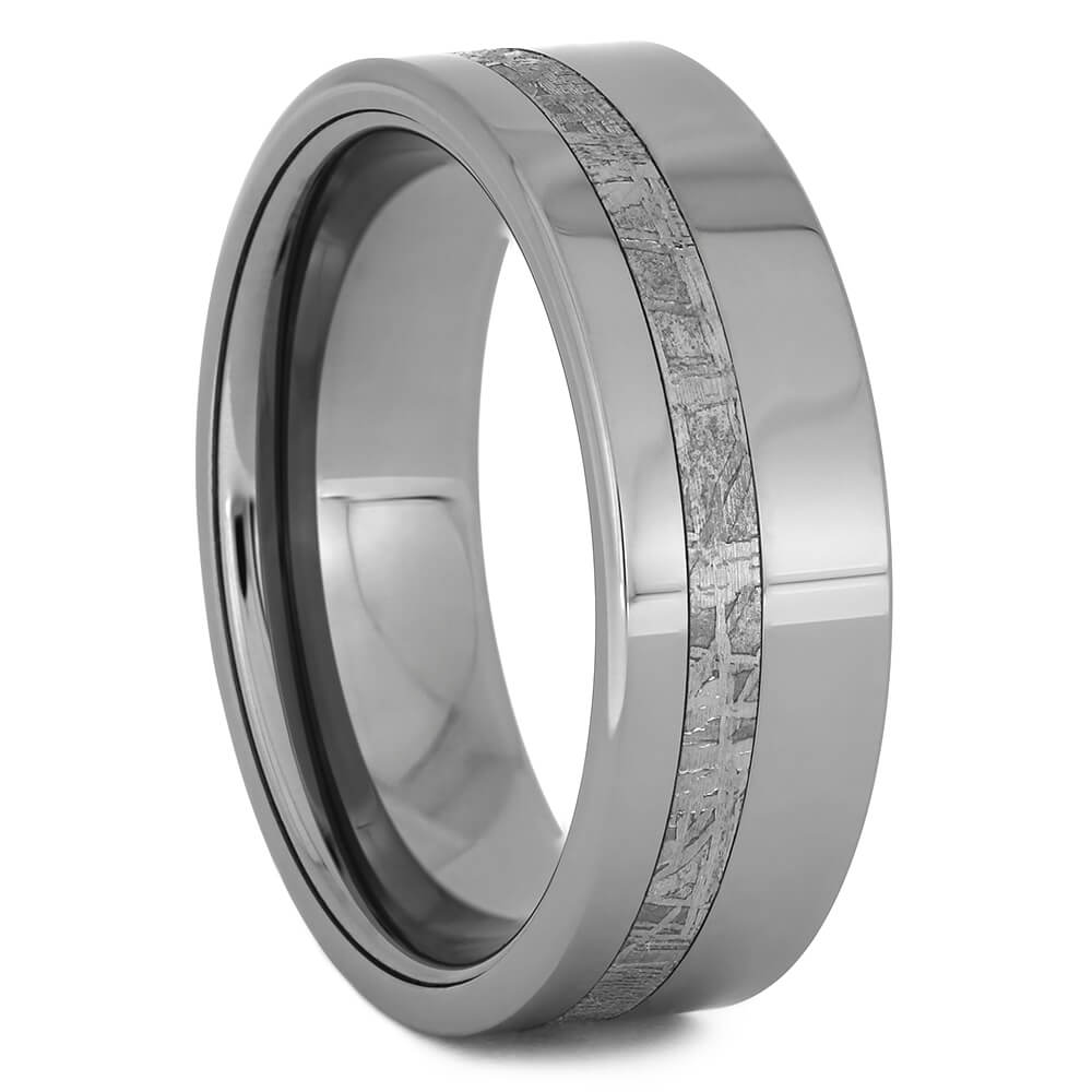Sleek Men's Tungsten Ring with Authentic Meteorite, Size 11-RS11246 - Jewelry by Johan