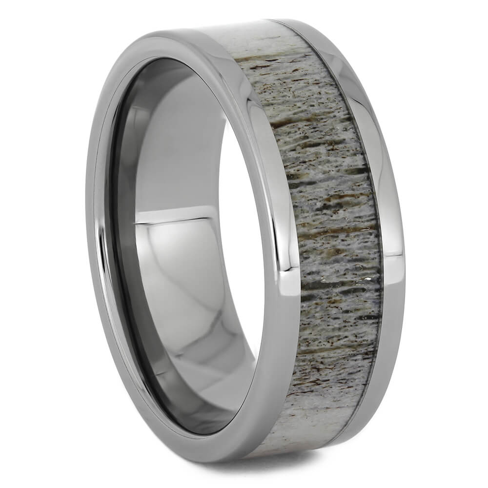 Bright Deer Antler Wedding Band in Titanium, Size 10-RS11250 - Jewelry by Johan