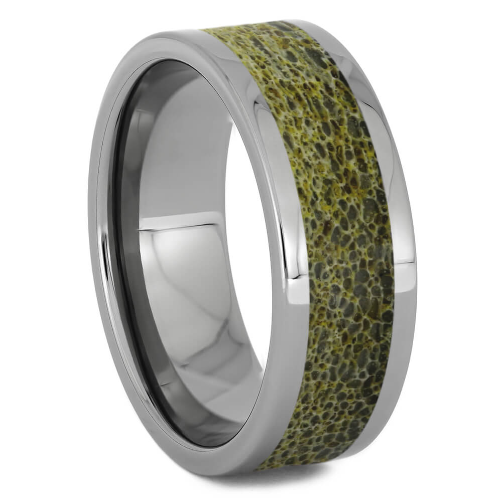 Gold Deer Antler Wedding Band in Titanium, Size 10-RS11251 - Jewelry by Johan