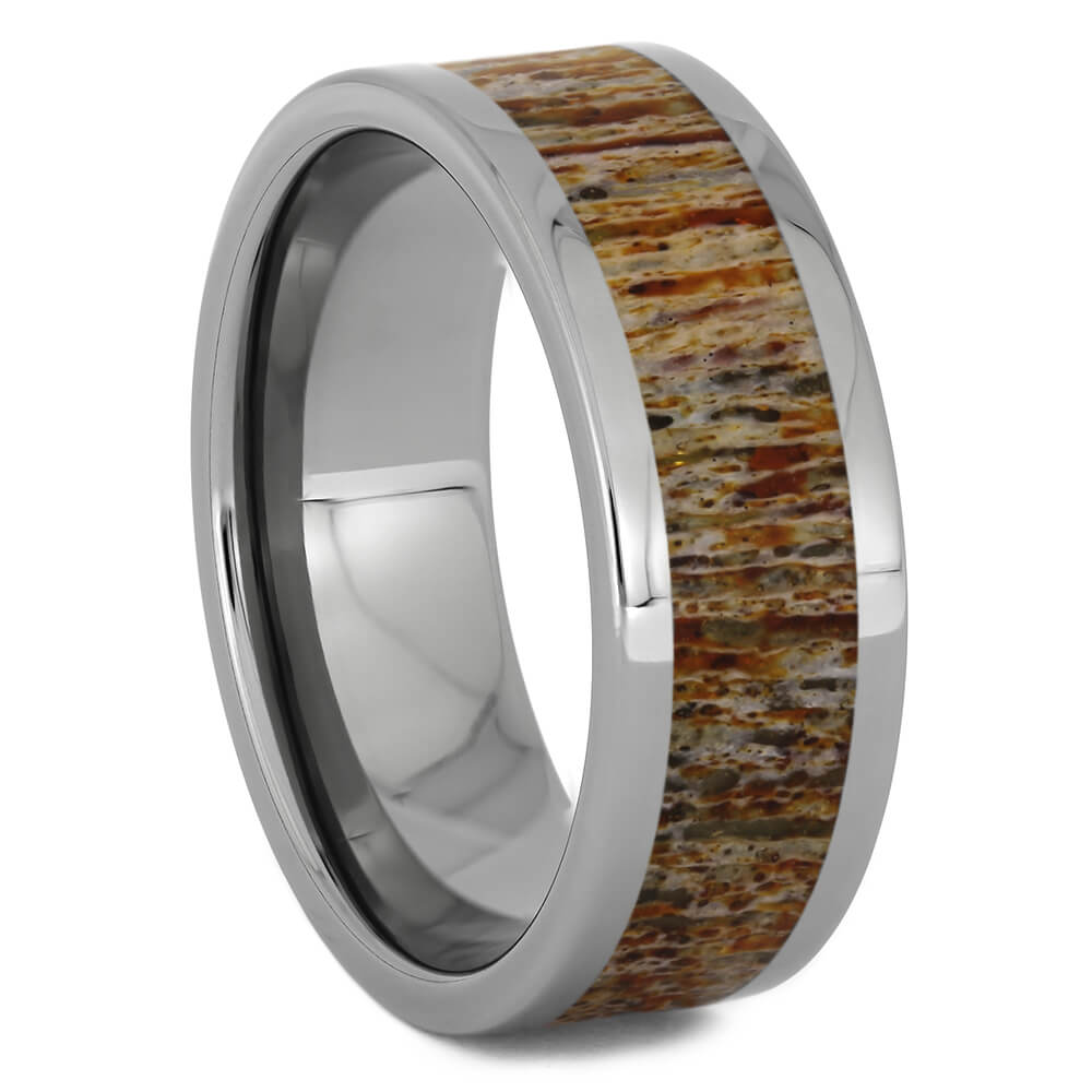Orange Deer Antler Ring in Titanium, Size 10-RS11252 - Jewelry by Johan