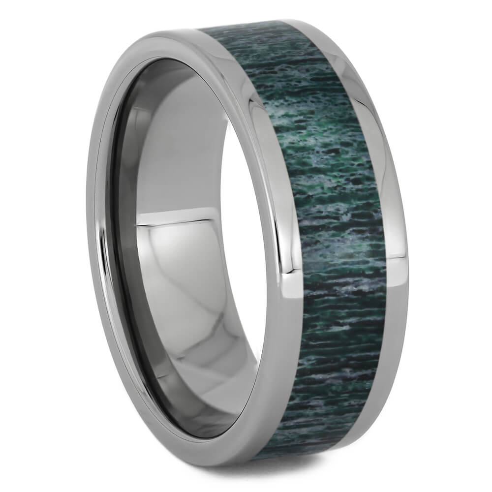 Green Deer Antler Wedding Band, Size 10-RS11253 - Jewelry by Johan