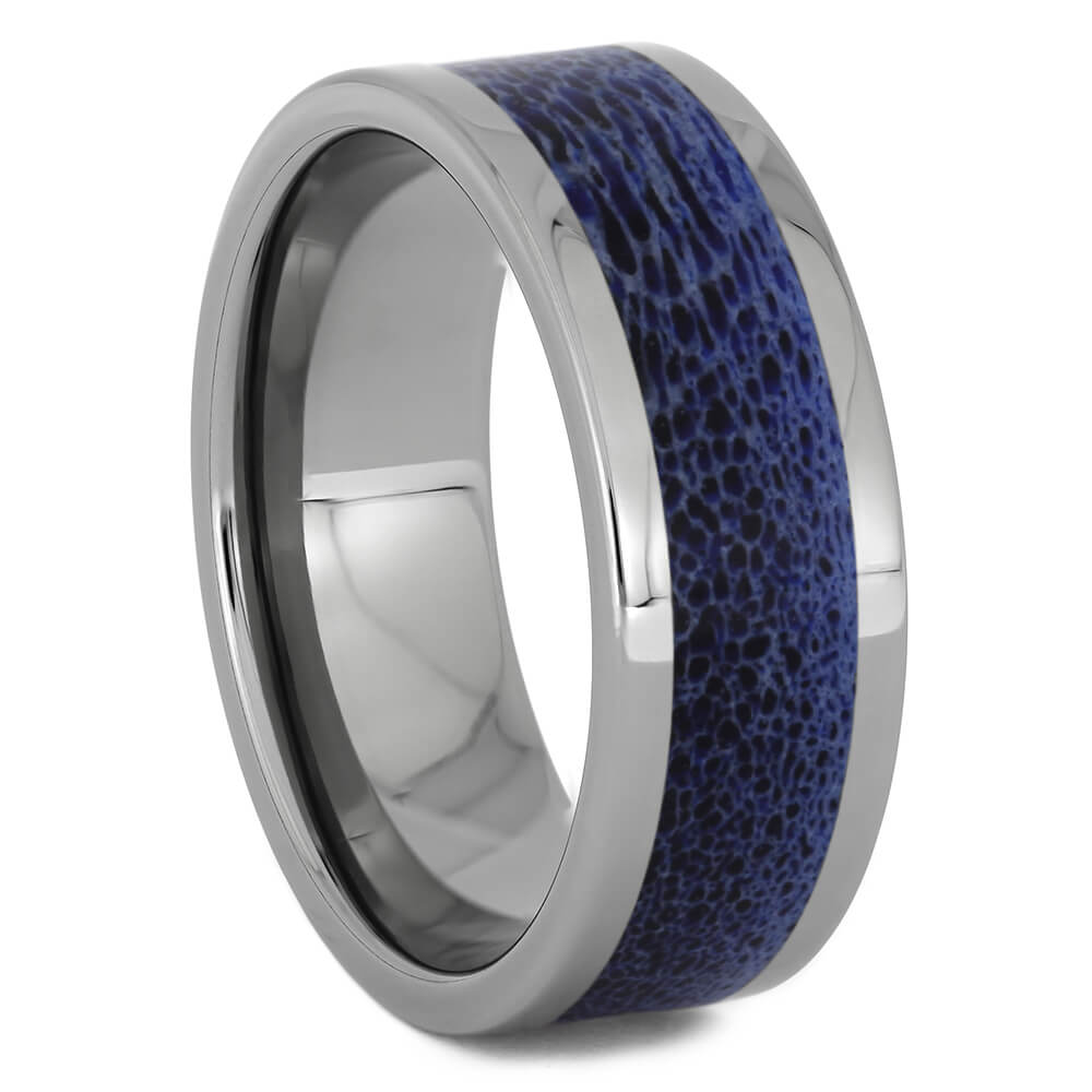 Blue Antler Ring with Titanium Edges, Size 10-RS11254 - Jewelry by Johan