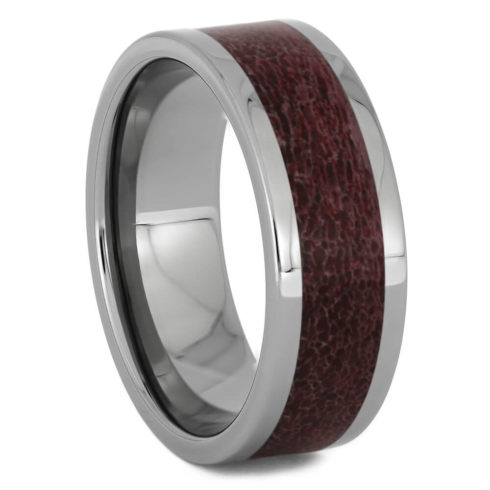 Wedding Ring with Red Deer Antler Inlay, Size 10-RS11255 - Jewelry by Johan