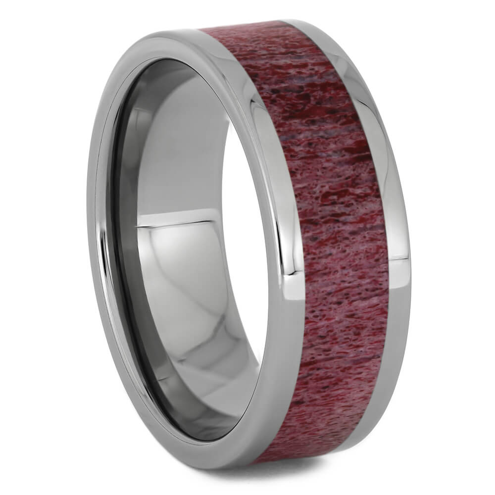 Red Wedding Band with Antler Inlay, Size 10.5-RS11257 - Jewelry by Johan