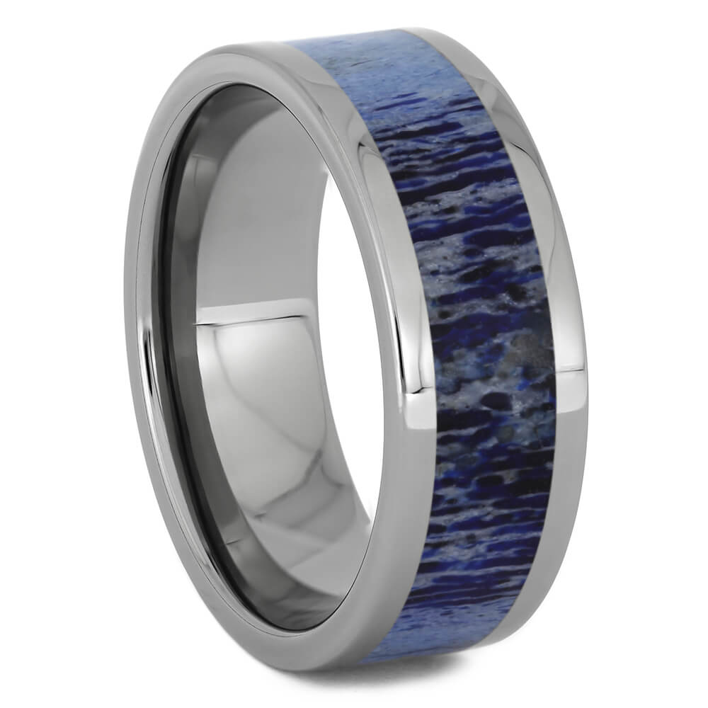 Royal Blue Deer Antler Wedding Band for Men, Size 10.5-RS11259 - Jewelry by Johan