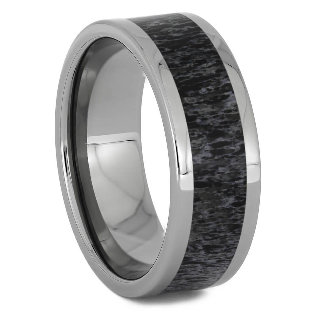 Men's Black Deer Antler Wedding Ring, Size 10.5-RS11260 - Jewelry by Johan