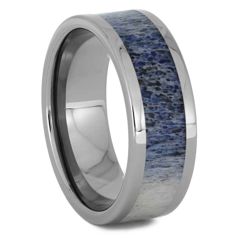 Light Blue Deer Antler Wedding Band for Men, Size 11-RS11263 - Jewelry by Johan