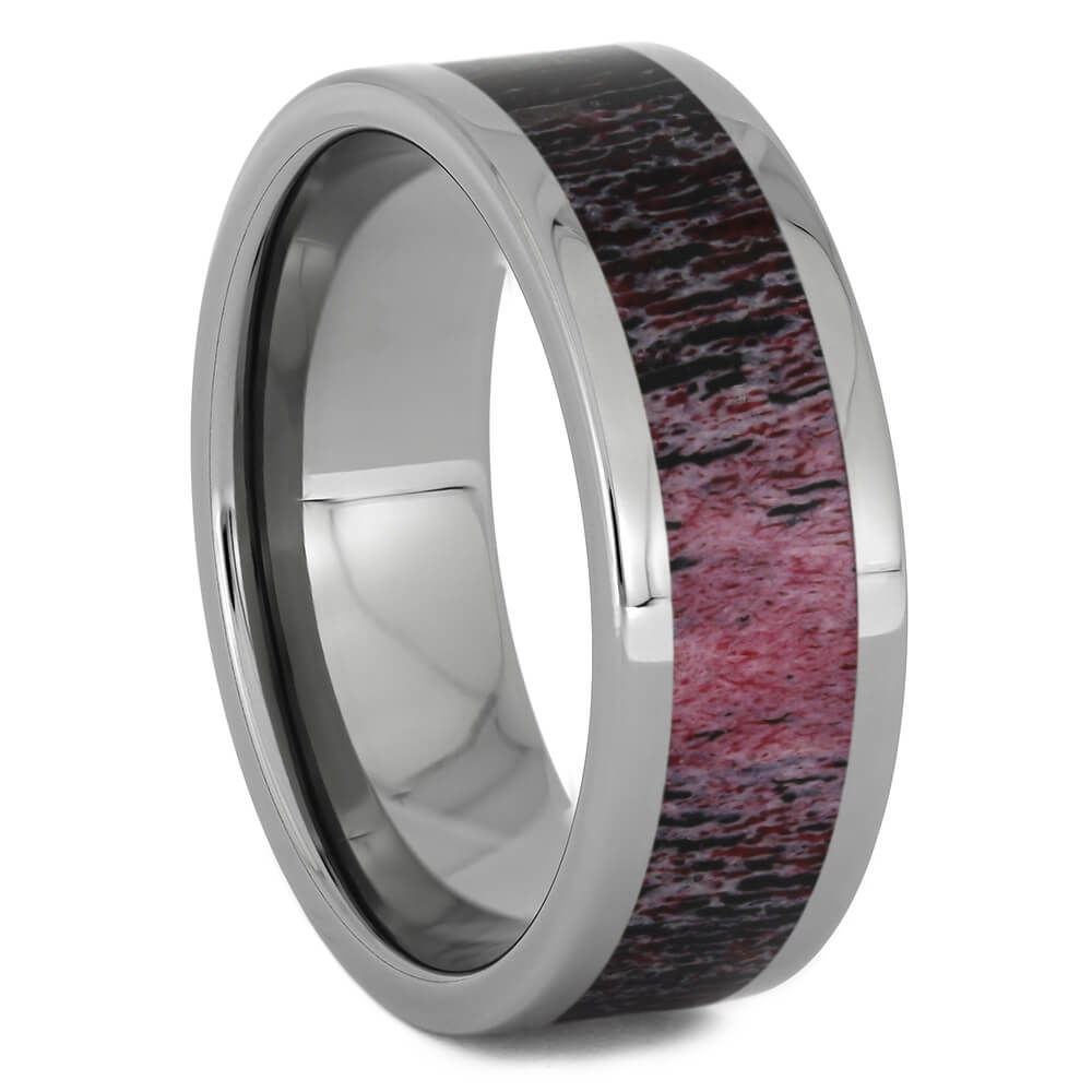 Red Deer Antler Wedding Band in Titanium, Size 11-RS11264 - Jewelry by Johan