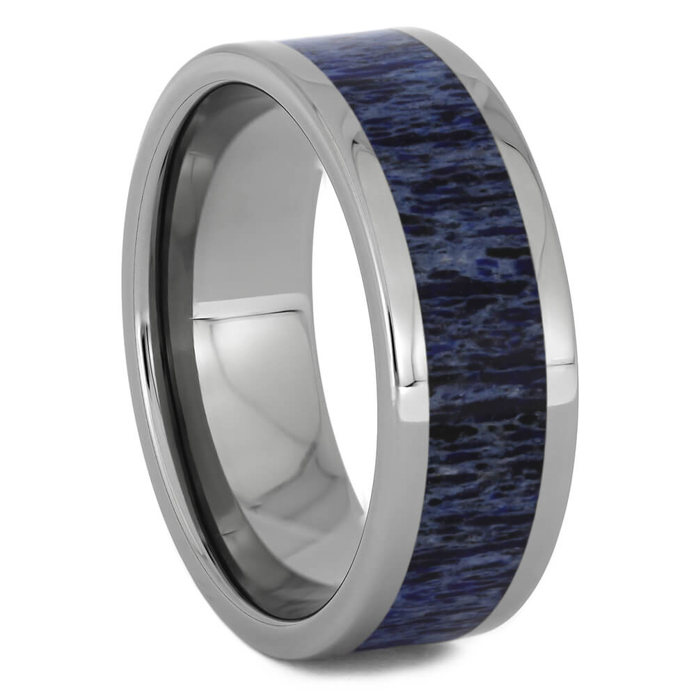 Men's Blue Deer Antler Wedding Band in Titanium, Size 11-RS11265 - Jewelry by Johan