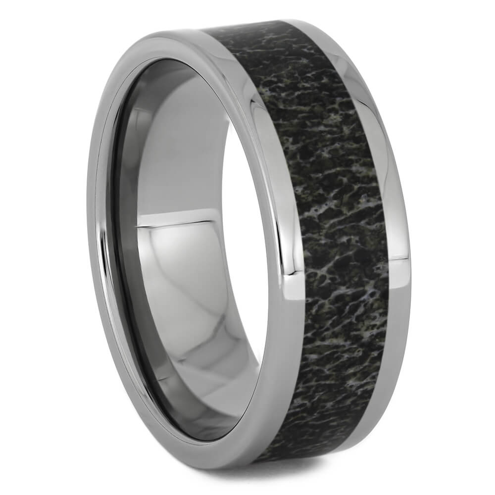 Black Antler Wedding Band in Titanium, Size 11-RS11267 - Jewelry by Johan